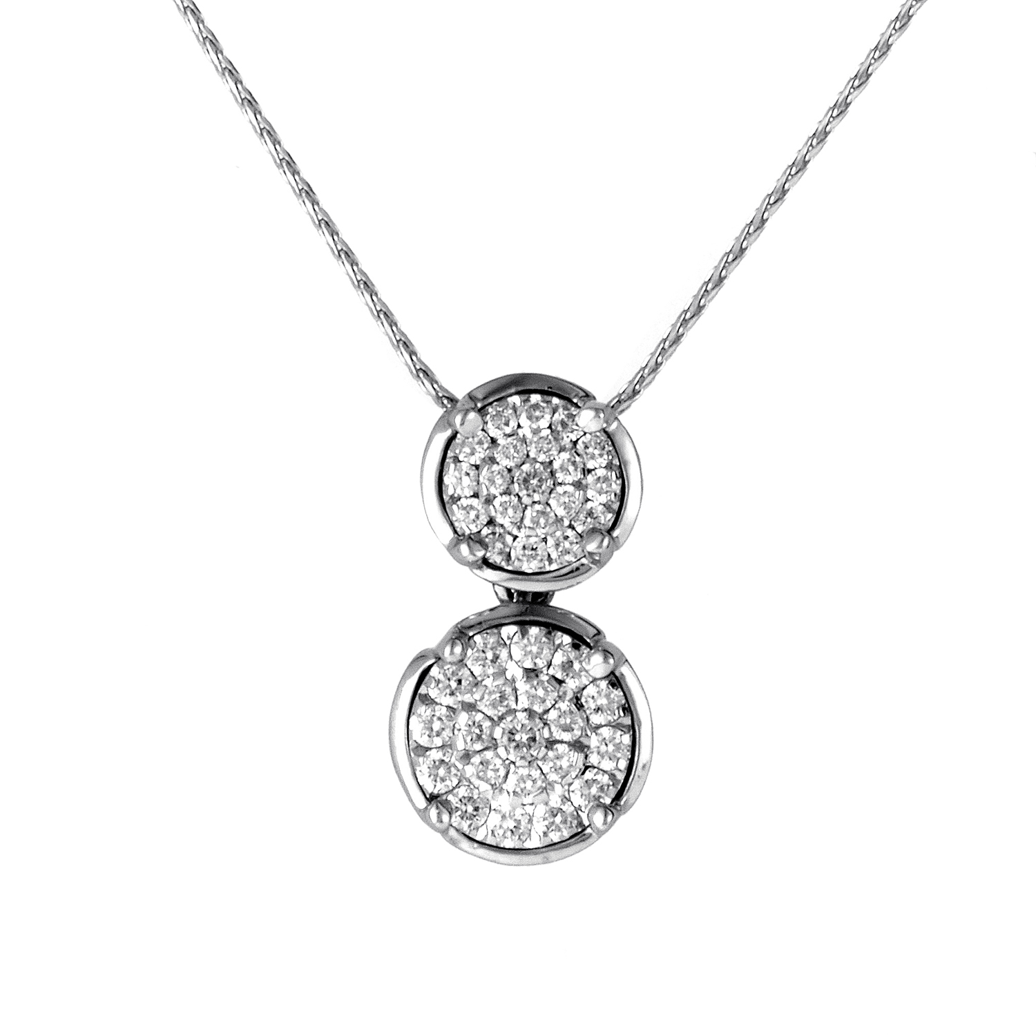 Womens 18K White Gold Diamond Pave Circles Pendant Necklace