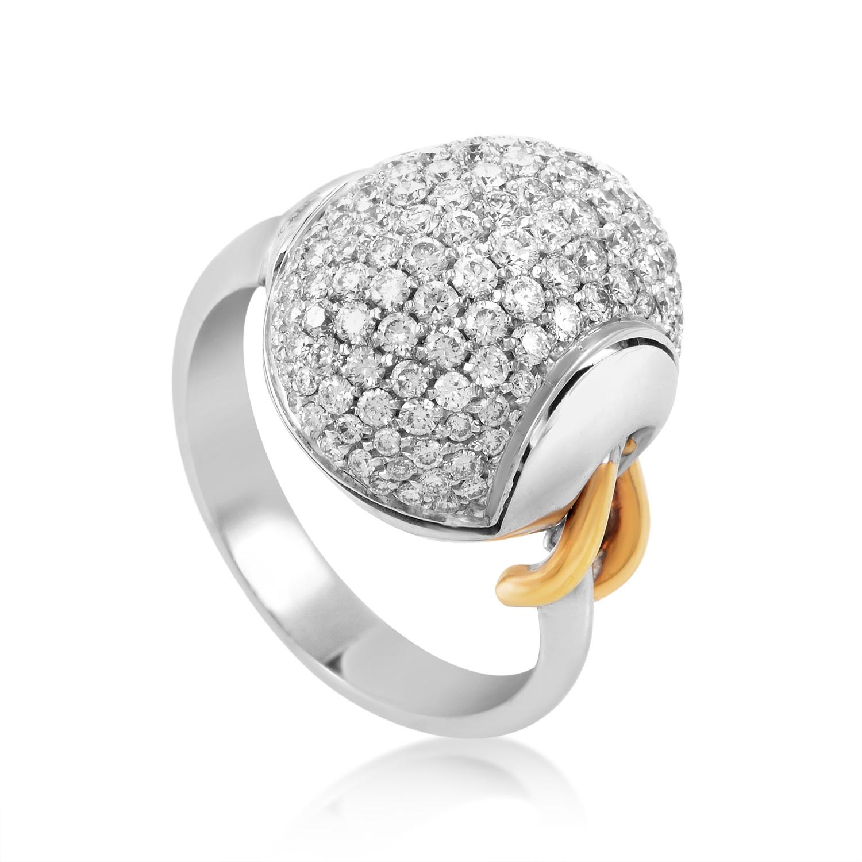 18K Multi-Tone Gold Diamond Pave Ring