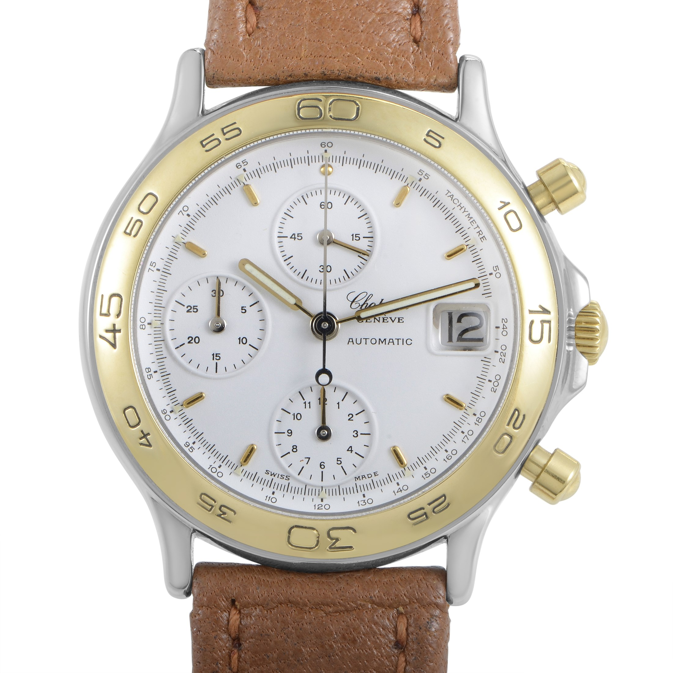 Chopard Mens Automatic Gold Plated Stainless Steel Chronograph Watch 348168-4001