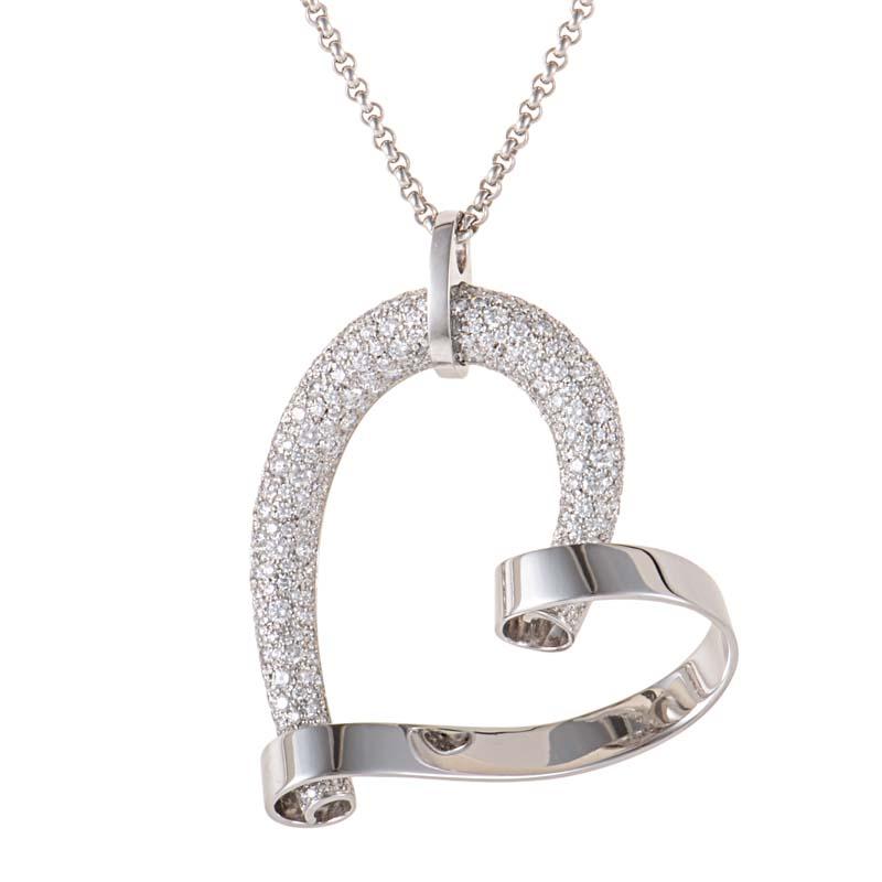 18K White Gold Diamond Pave Heart Pendant Necklace 791088-1001