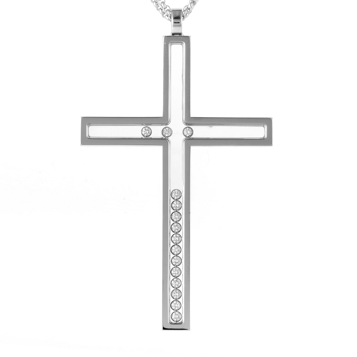 Happy Diamonds 18K White Gold Cross Pendant Necklace 796291-1003