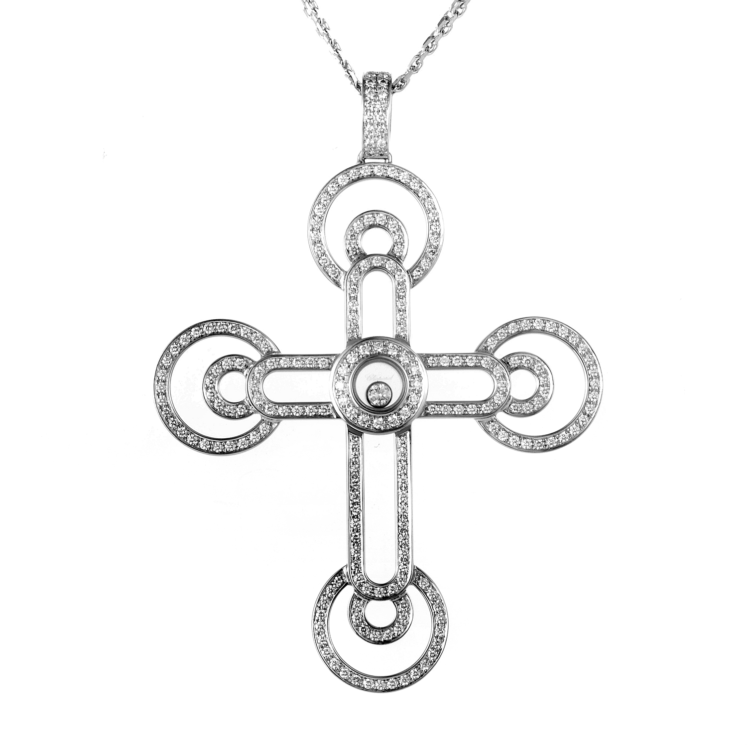 Happy Diamonds 18K White Gold Cross Pendant Necklace 796314-1001