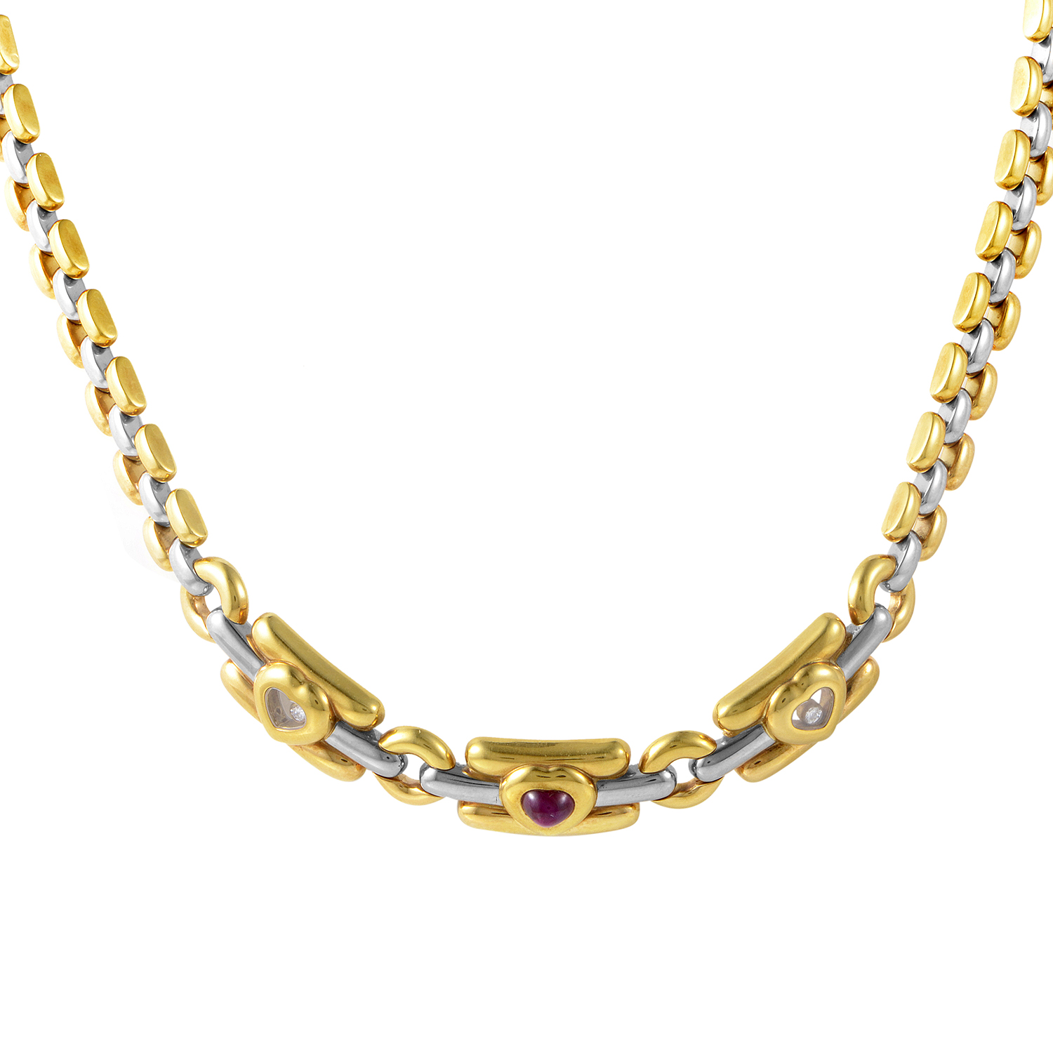 18K Multi-Tone Gold Diamond & Ruby Necklace 81/2271