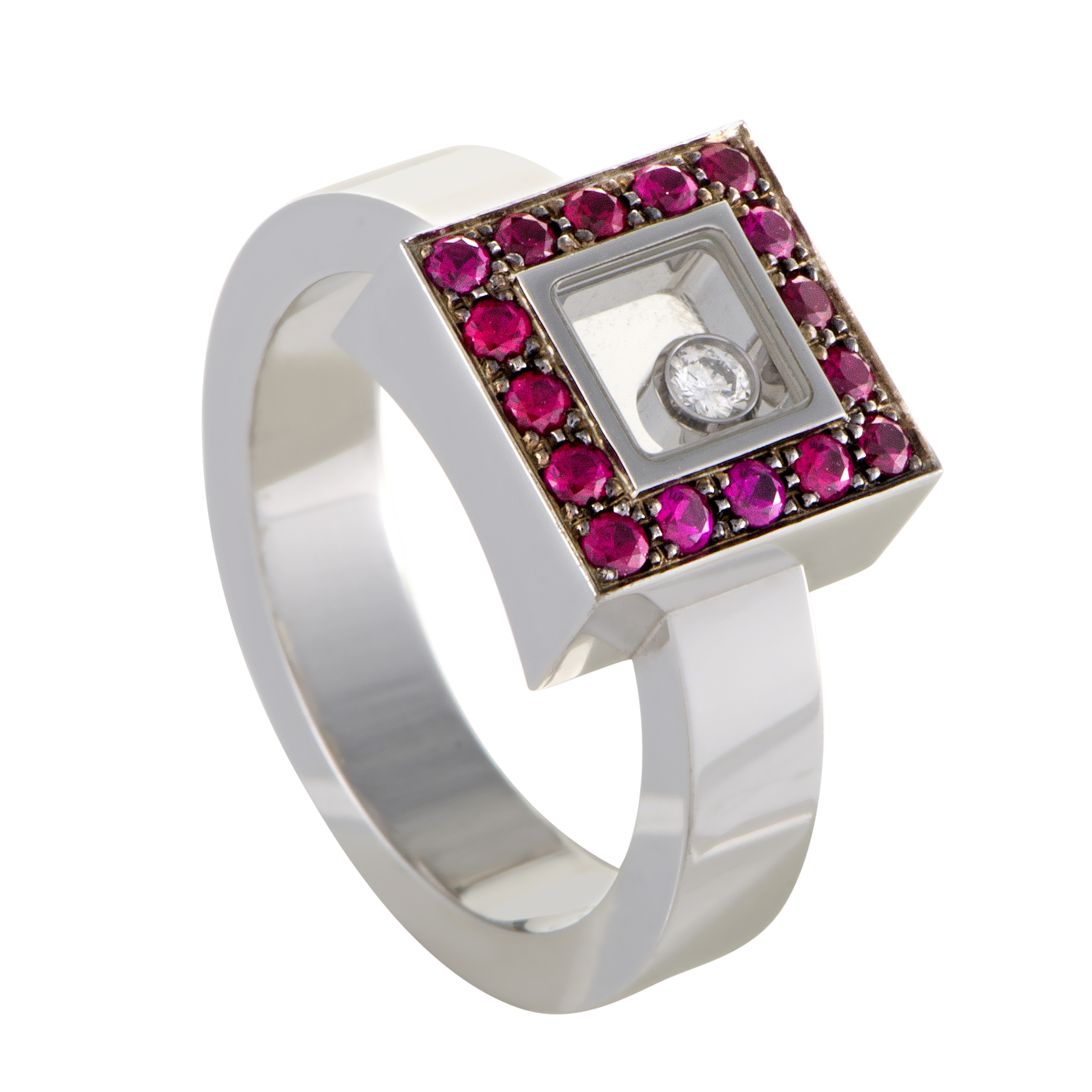 Happy Diamonds 18K White Gold Ruby Pave and Floating Diamond Ring