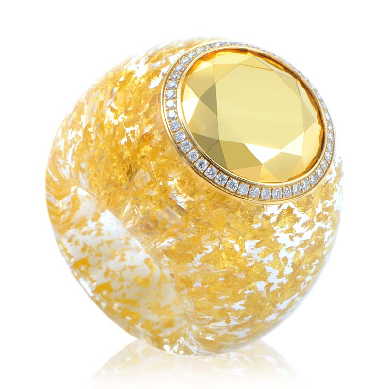 Golden Diamonds Titanium Treated 18K Yellow Gold Diamond Ring