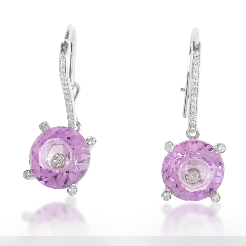 So Happy Womens 18K White Gold Pink Stone and Diamond Earrings