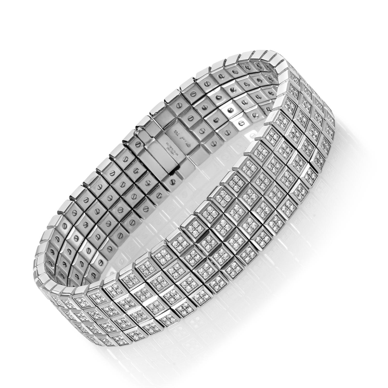 Ice Cube 18K White Gold 3 Row Diamond Bracelet