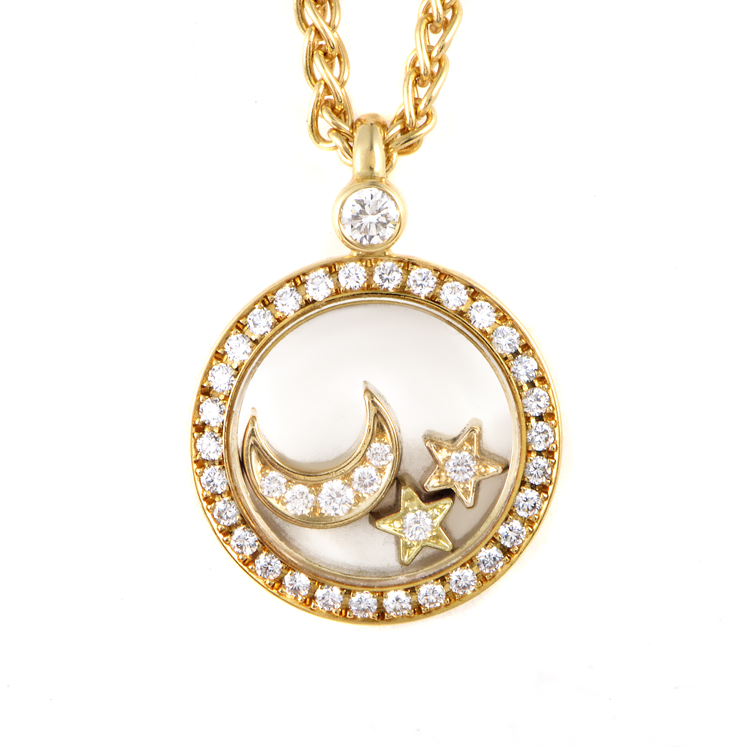 Chopard Happy Diamonds 18K Yellow Gold Moon & Stars Pendant Necklace