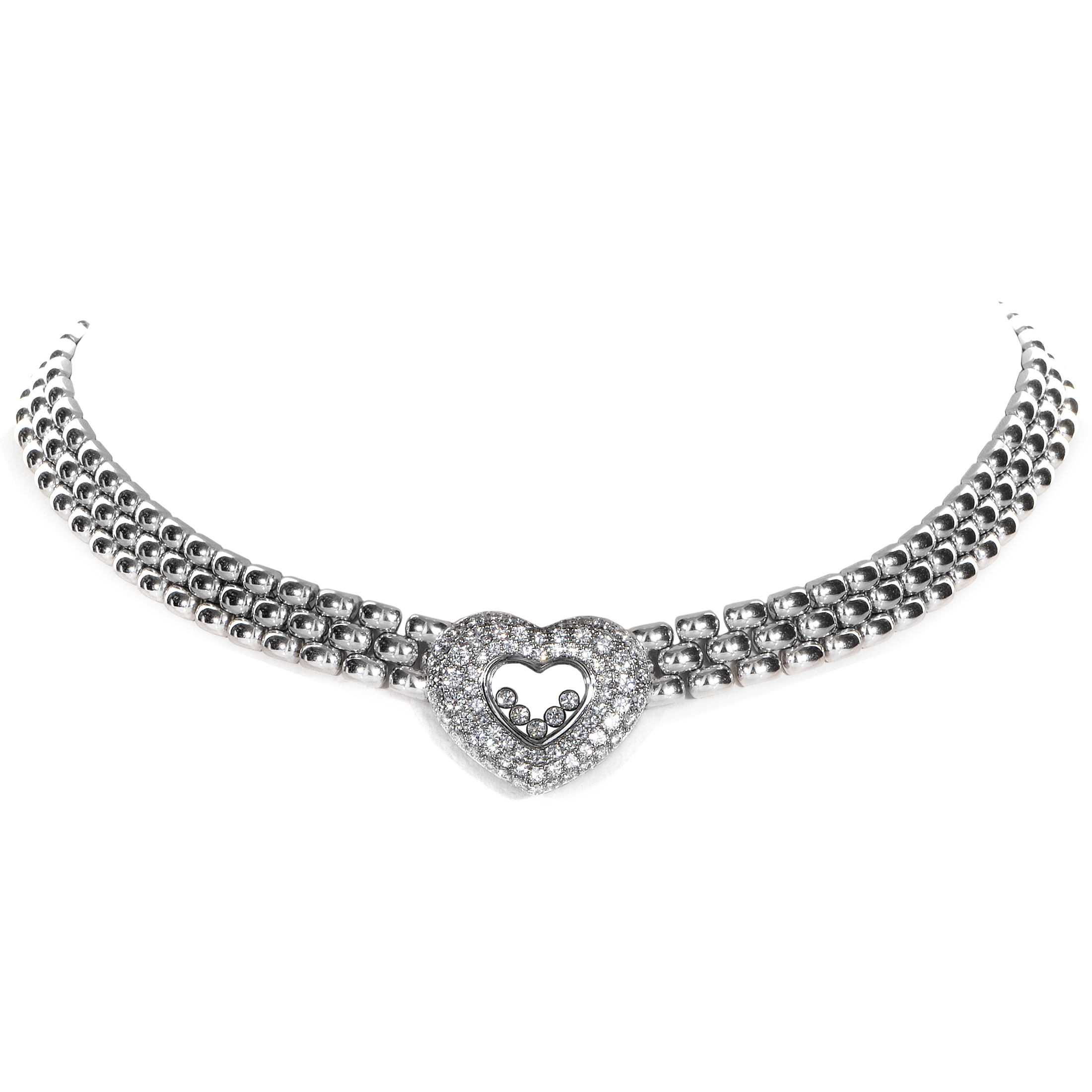 Chopard Women's Happy Diamonds 18K White Gold Heart Collar Necklace