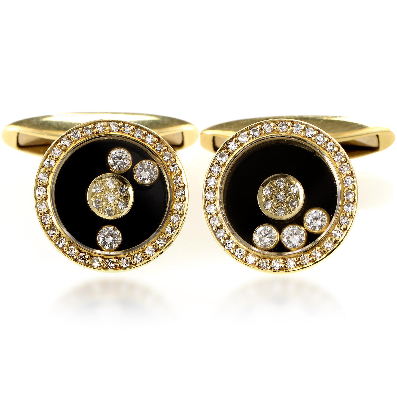 Chopard Happy Diamonds 18K Yellow Gold Diamond Cufflinks