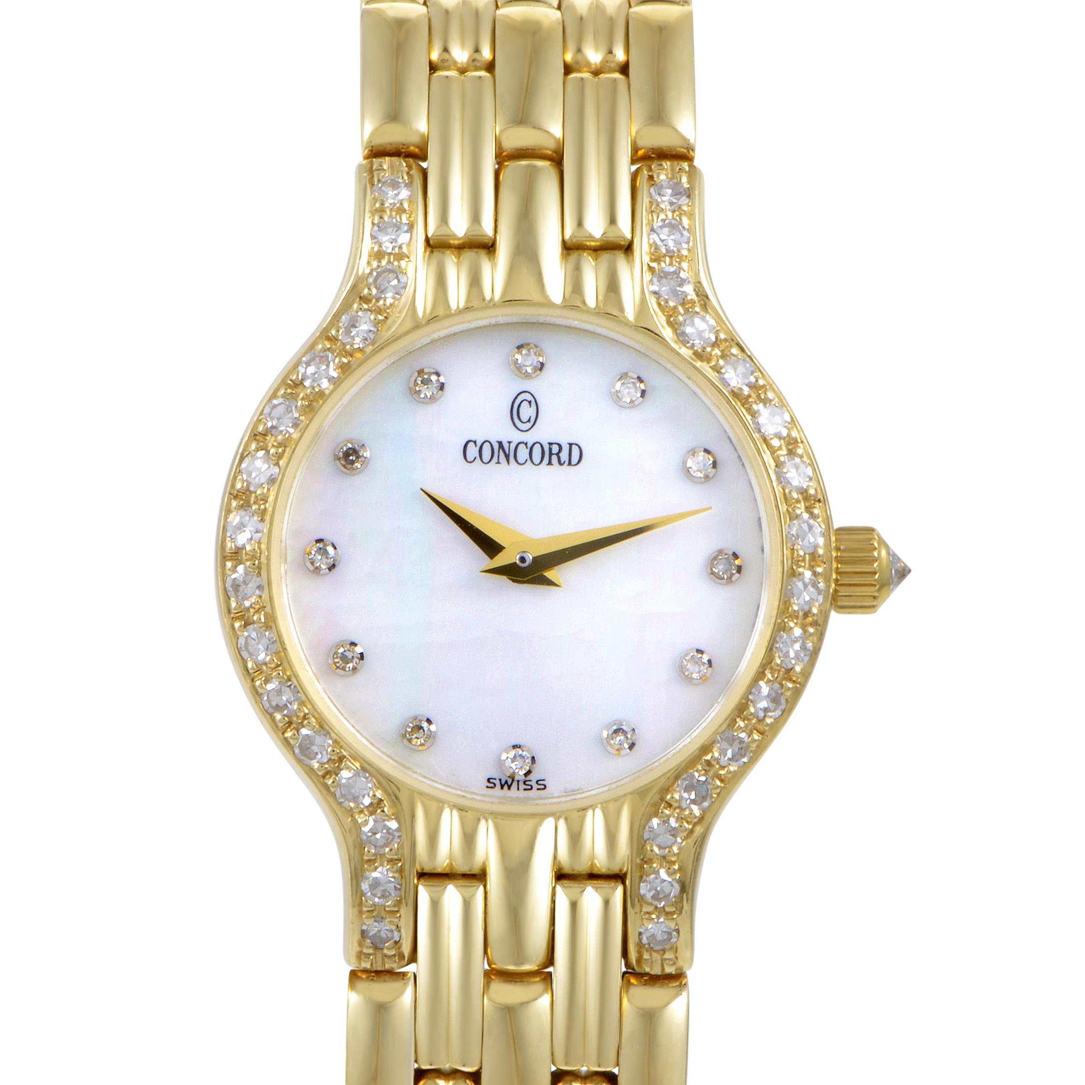 Concord Womens 18K Yellow Gold Diamond Quartz Watch