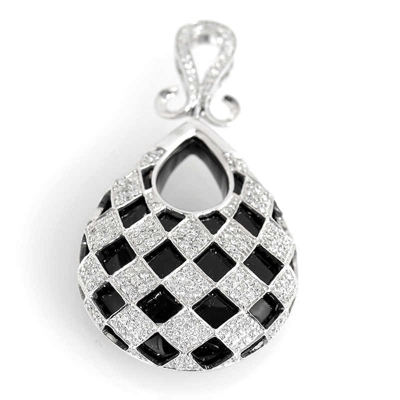 18K White Gold Checkered Diamond and Onyx Chainless Pendant
