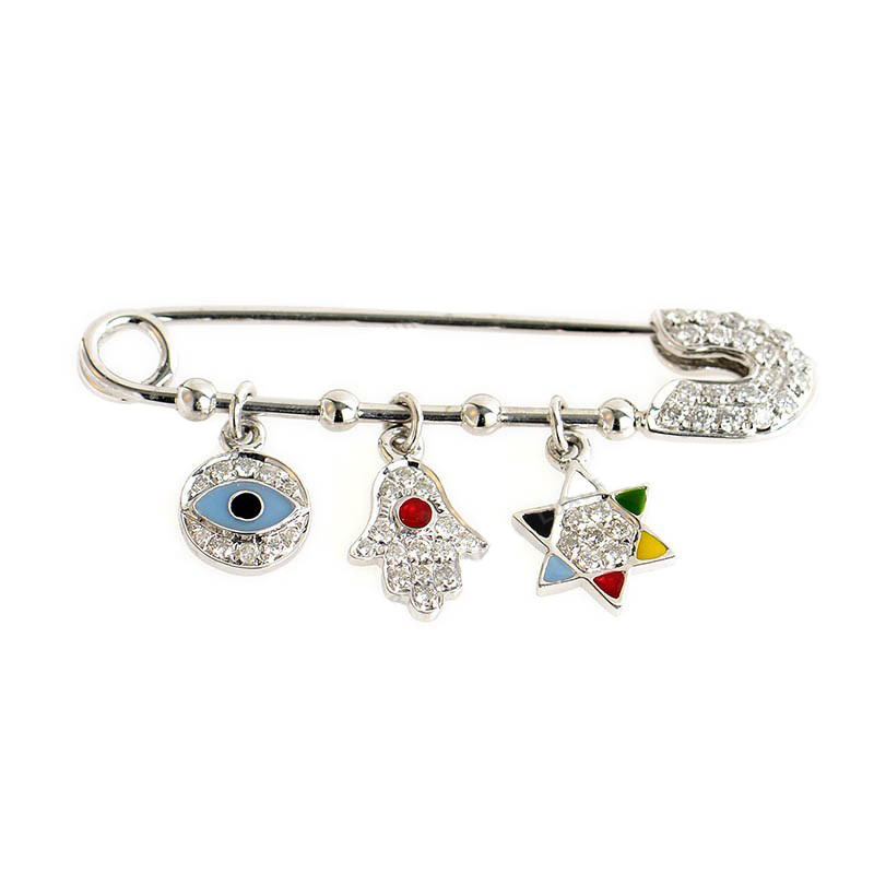 Women's 18K White Gold & Diamond Judaic Symbols Safety Pin PA06021RBZ