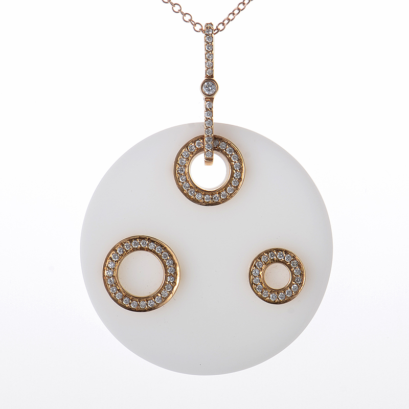 18K Rose Gold Diamond and White Onyx Pendant Necklace