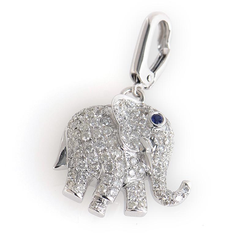 18K White Gold Diamond Elephant Chainless Pendant