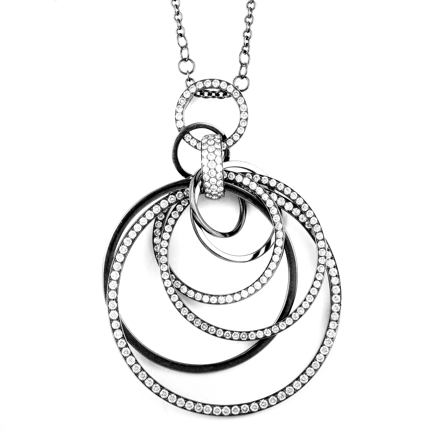 Women's 18K White Gold Diamond Pendant Necklace 21618913