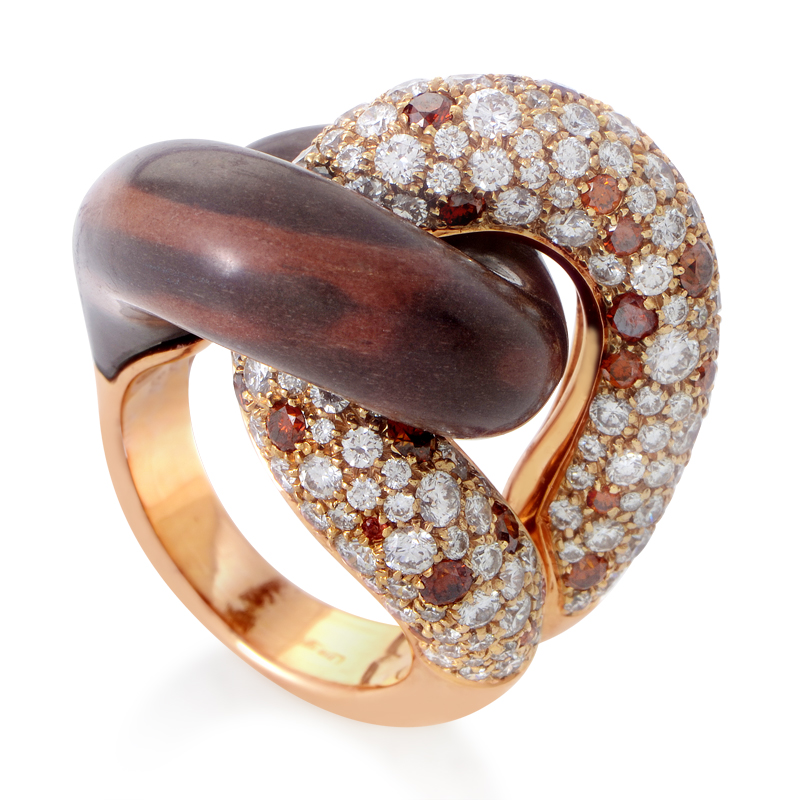 18K Rose Gold Knotted Gemstone Ring