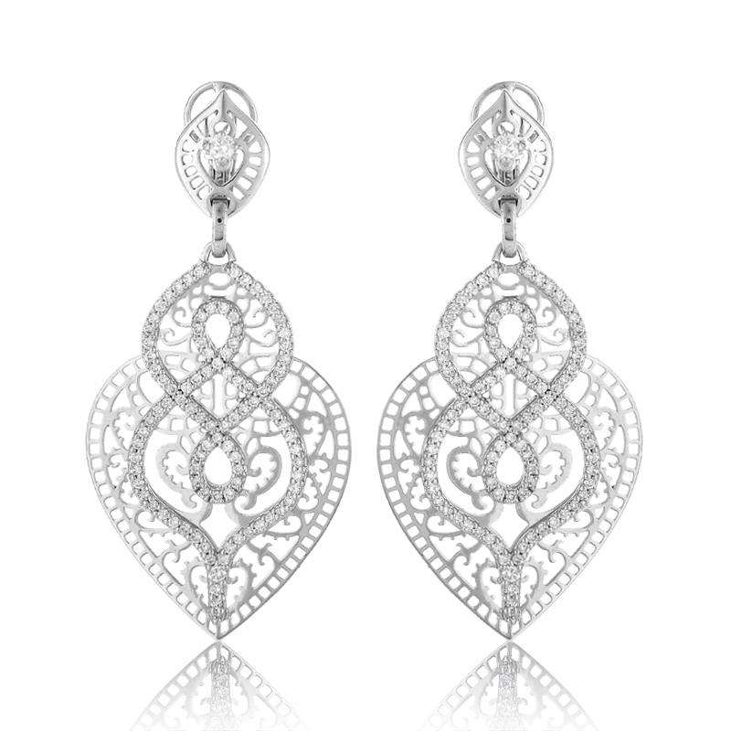 Women's 18K White Gold Diamond Chandelier Earrings