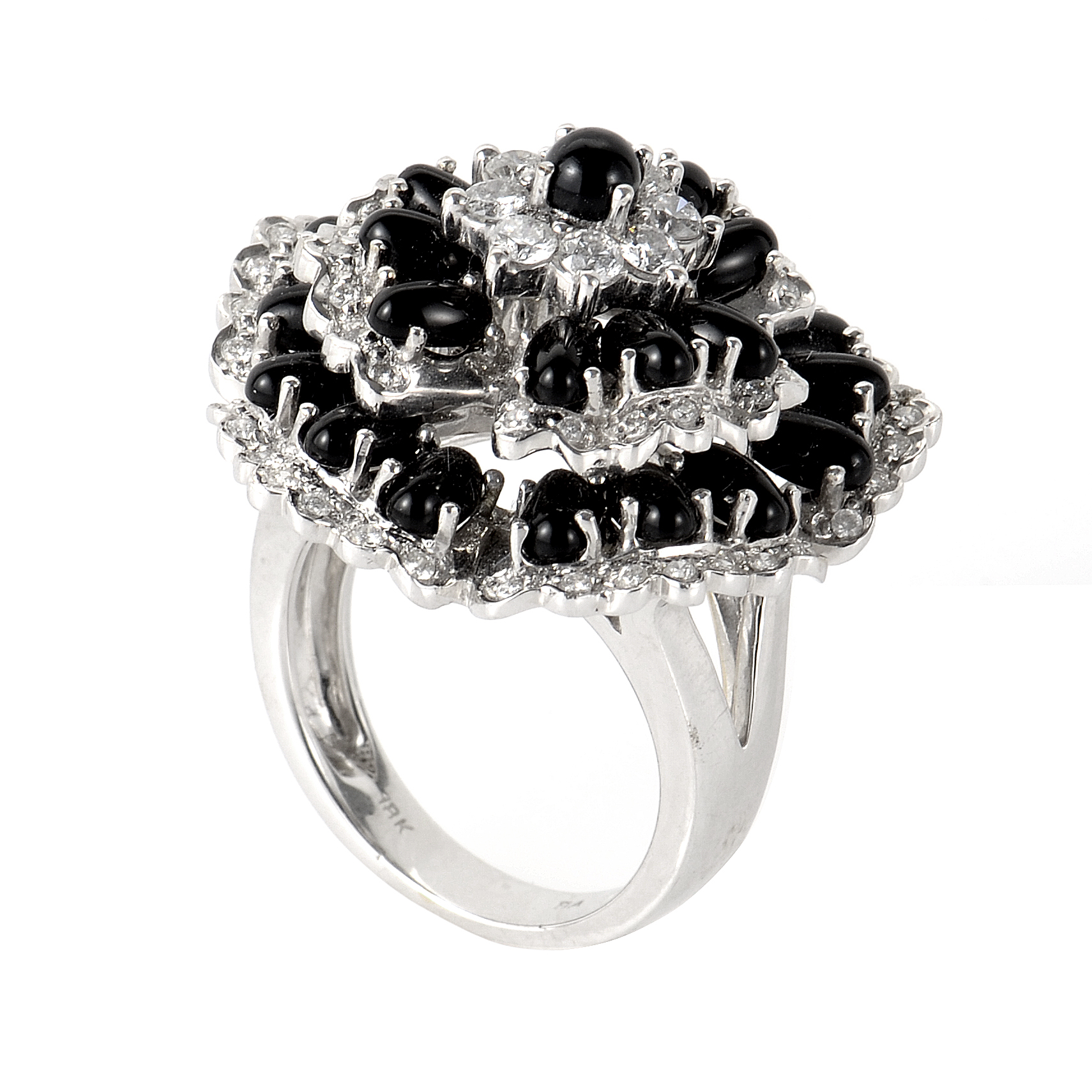 18K White Gold Onyx and Diamond Flower Ring