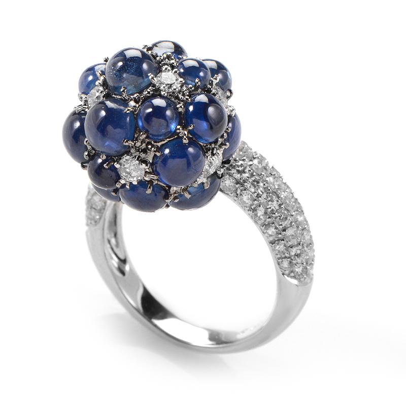 18K White Gold Diamond and Sapphire Dangle Ring