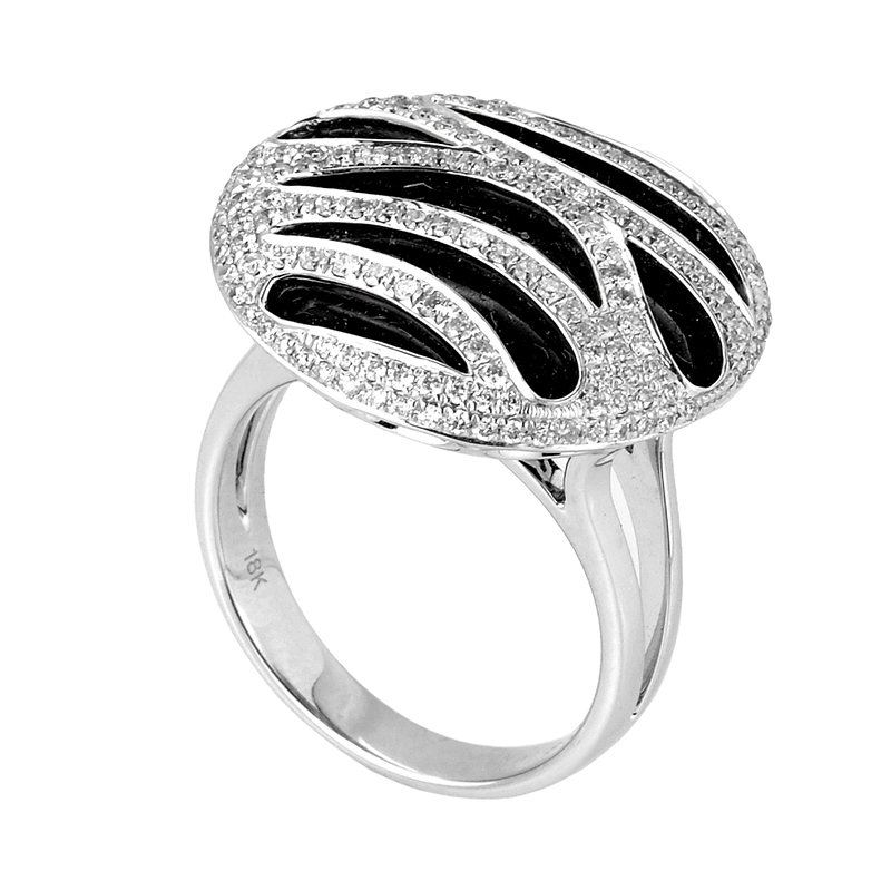 18K White Gold Onyx Diamond Ring CRR7678
