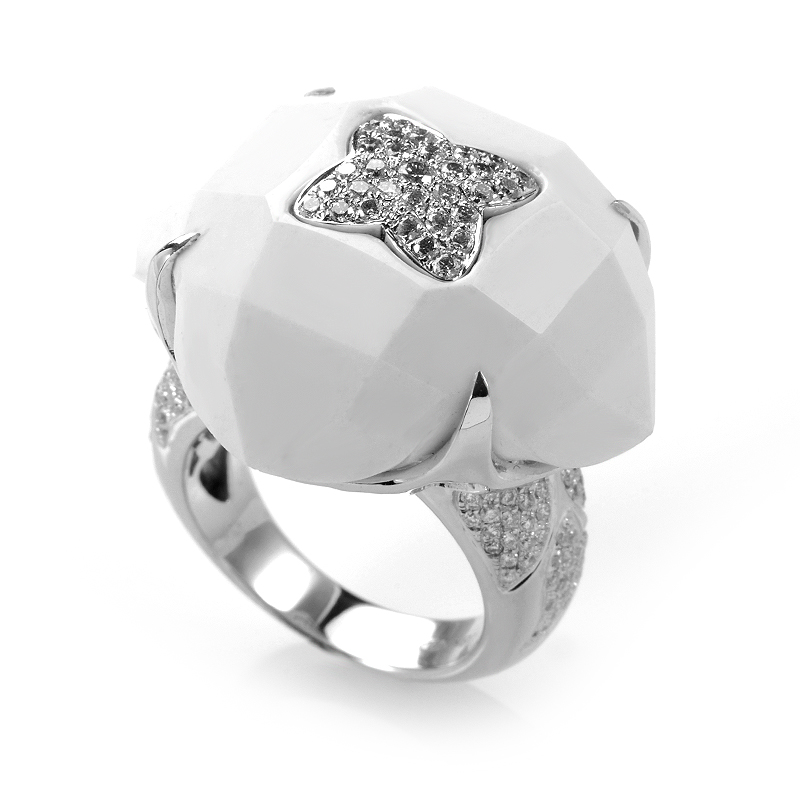 18K White Gold White Onyx and Diamond Ring CRR7815