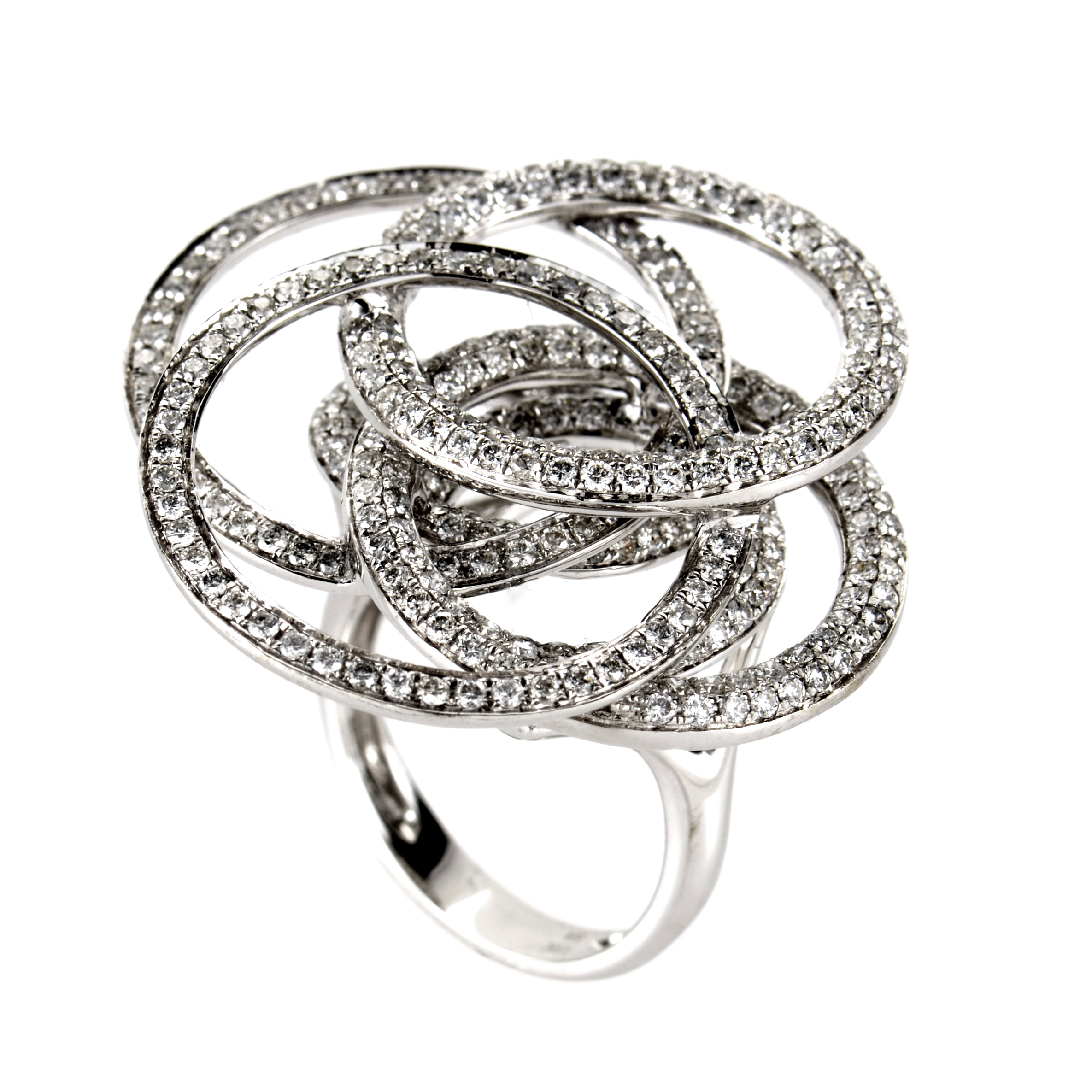 18K White Gold Diamond Pave Open Circles Ring