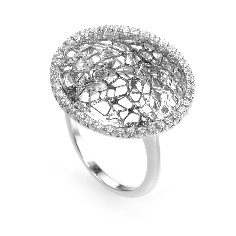 14K White Gold Diamond Wire Ring CRR8711