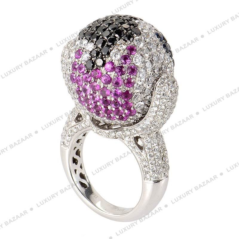 18K White Gold Diamond and Gem Globe Ring