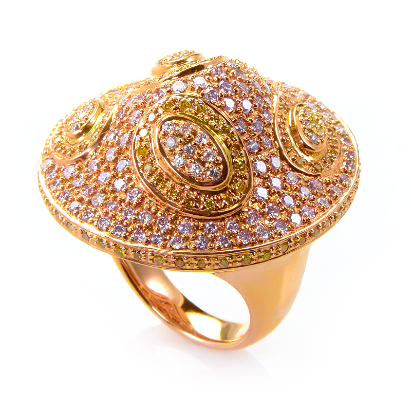 18K Rose Gold White and Yellow Diamond Ring CRR8978