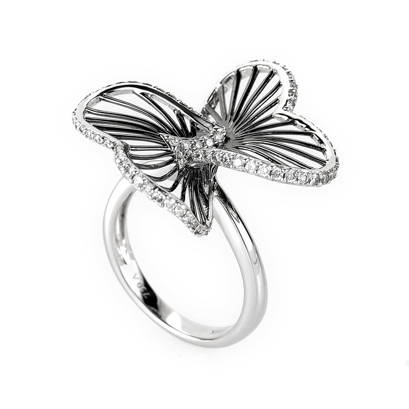 18K White Gold Diamond Openwork Flower Ring