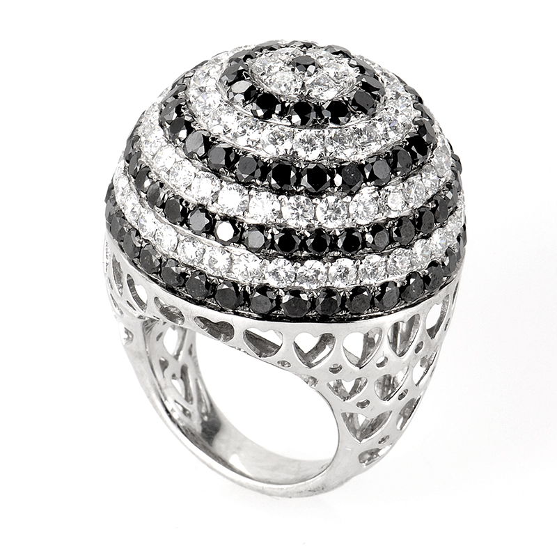 Large 18K White Gold Black and White Diamond Swirl Ring CRR8997