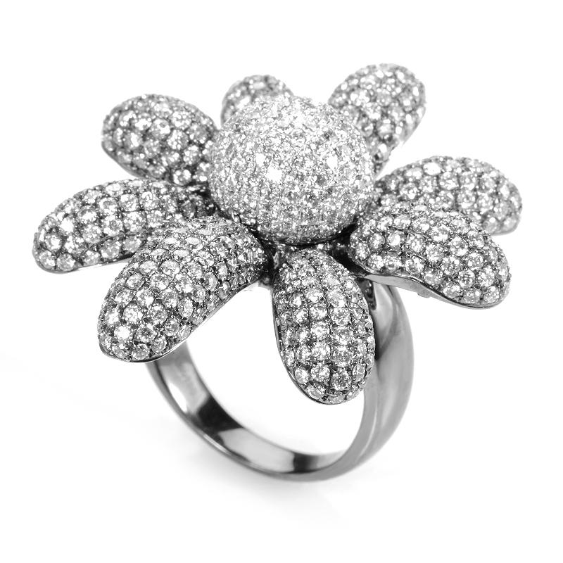 18K White Gold Diamond Pave Flower Ring CRR9995
