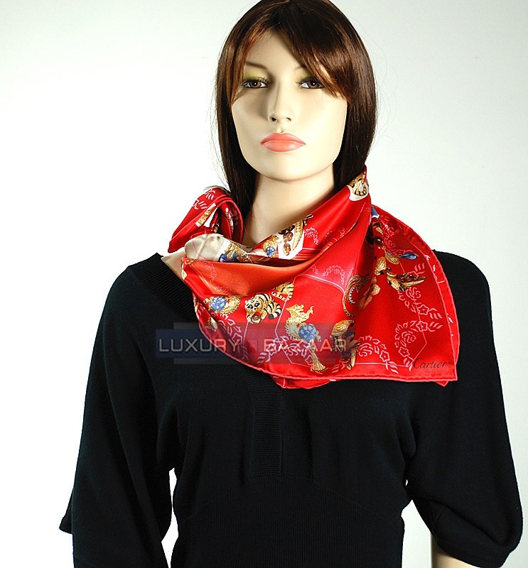 Pave Cartier Animal Jewelry Scarf in Red and Peach