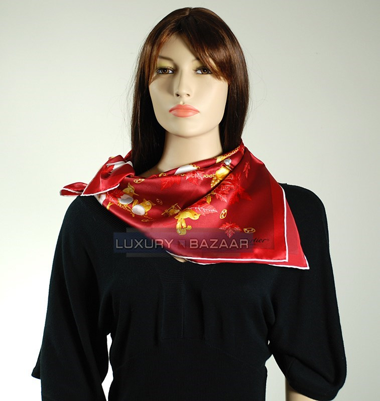 Birds Scarf on Garnet