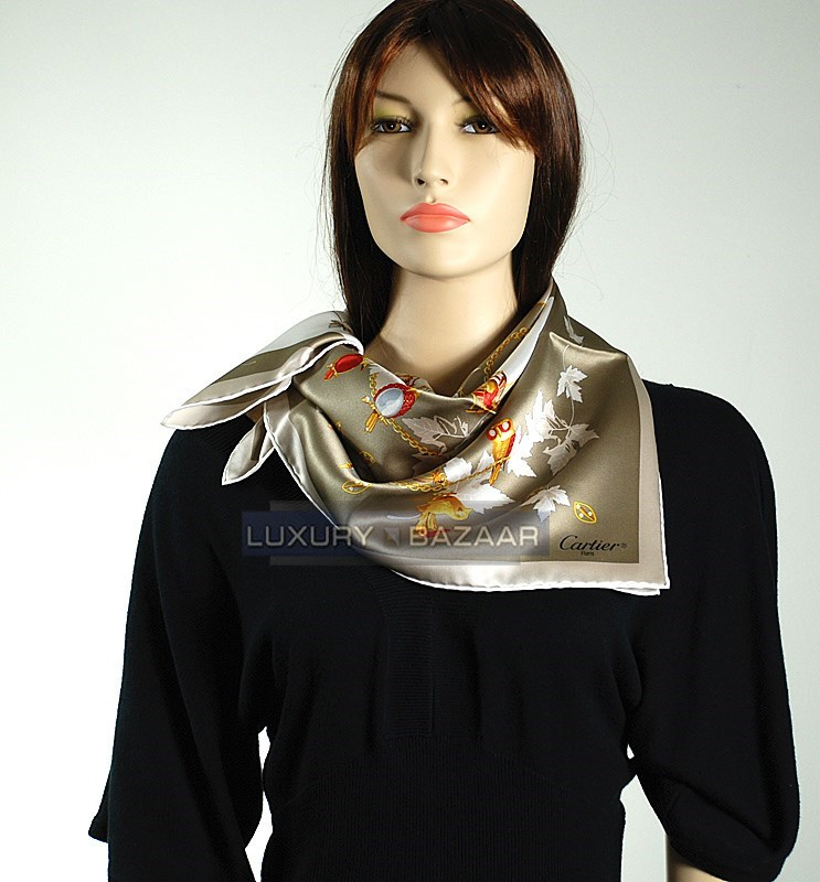 Birds Scarf on Taupe