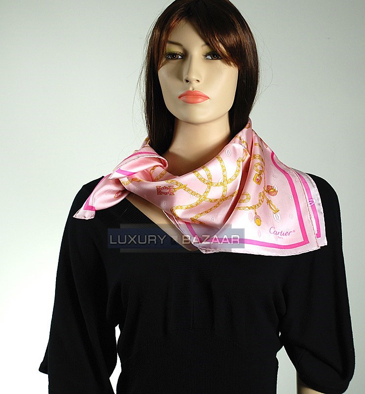 Links and Charms Scarf on Pink Background