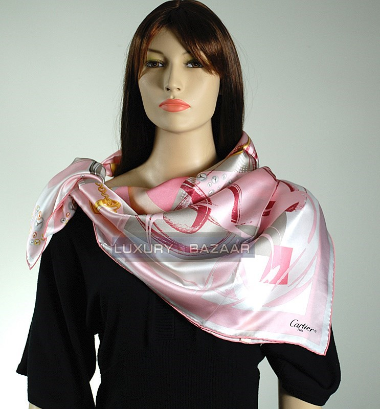 Heart Bracelet and Tri-Color Rings Scarf with Ring Bands in Pink to Rouge