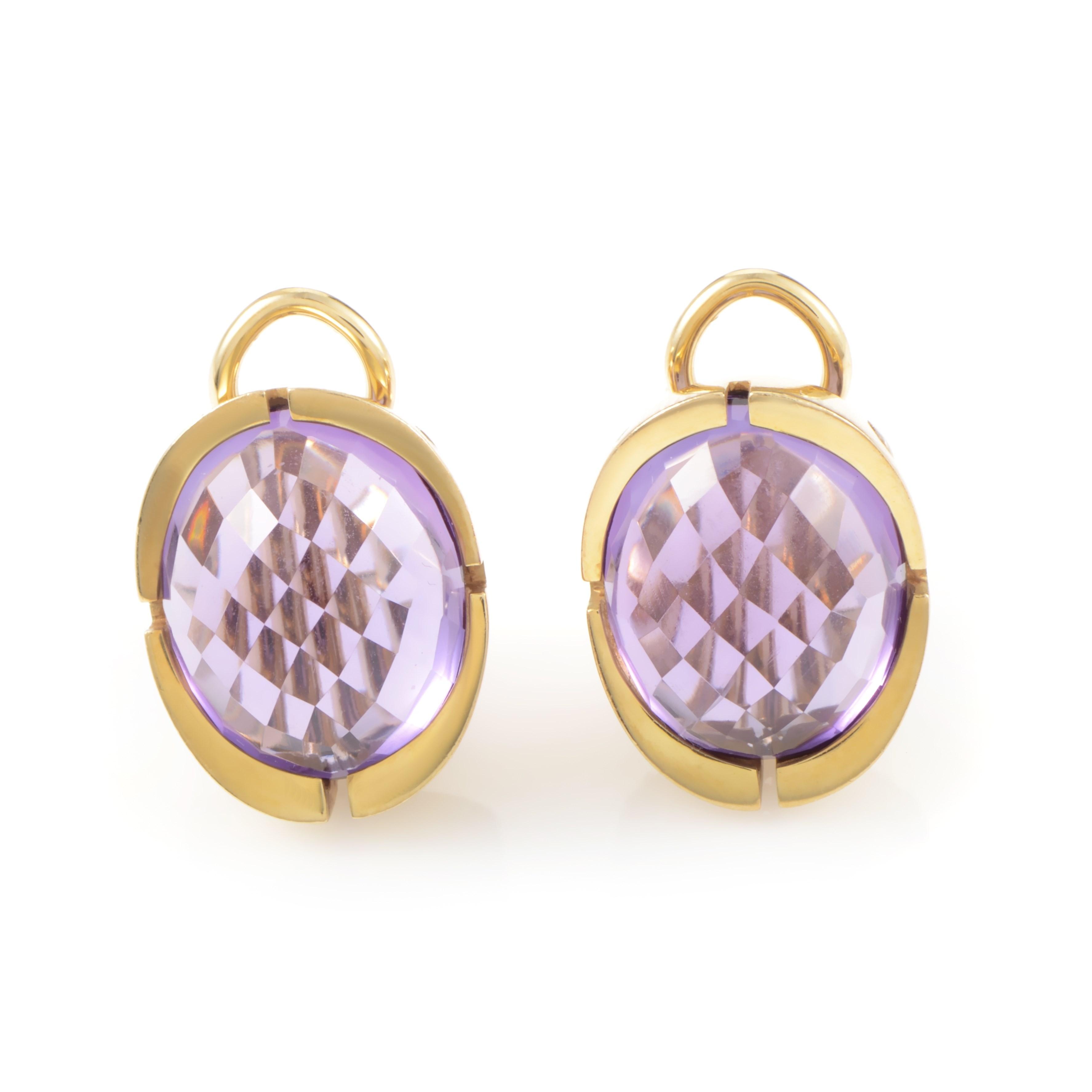 Calderoni 18K Yellow Gold Amethyst Huggie Earrings