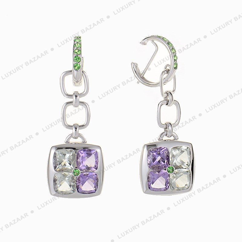 Canouan 18K White Gold Amethyst Earrings
