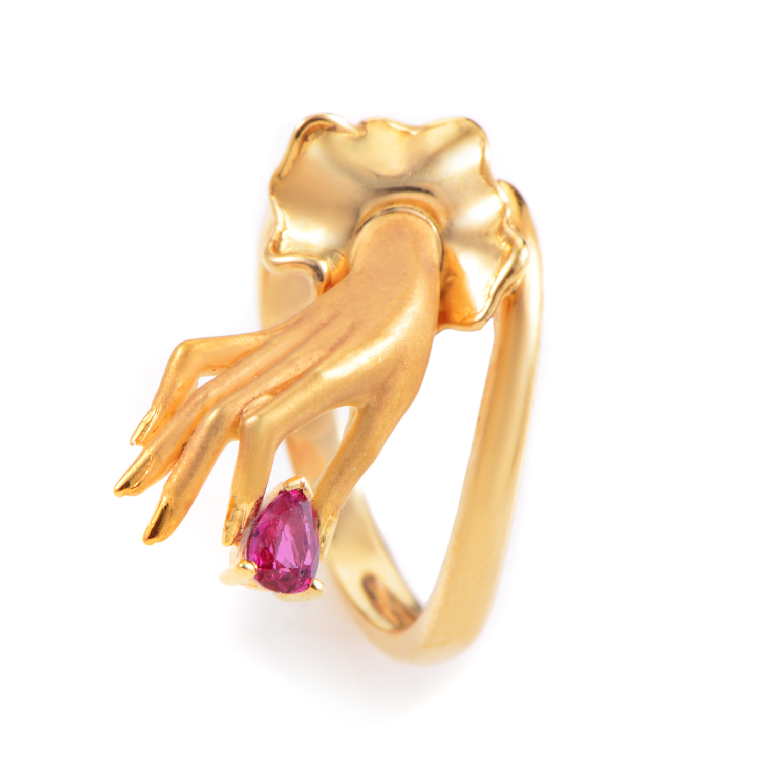 Carrera y Carrera Women's 18K Yellow Gold Dainty Hand Ruby Ring