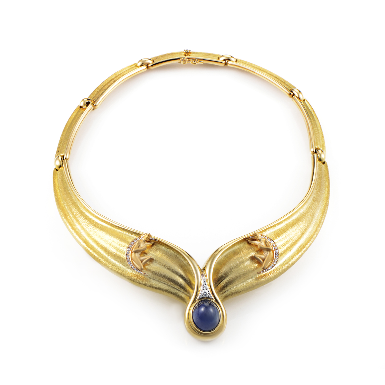 Carrera y Carrera 18K Yellow Gold Diamond & Sapphire Collar Necklace