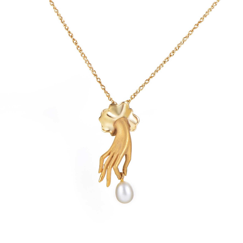 Carrera y Carrera 18K Yellow Gold Hand Pearl Pendant Necklace