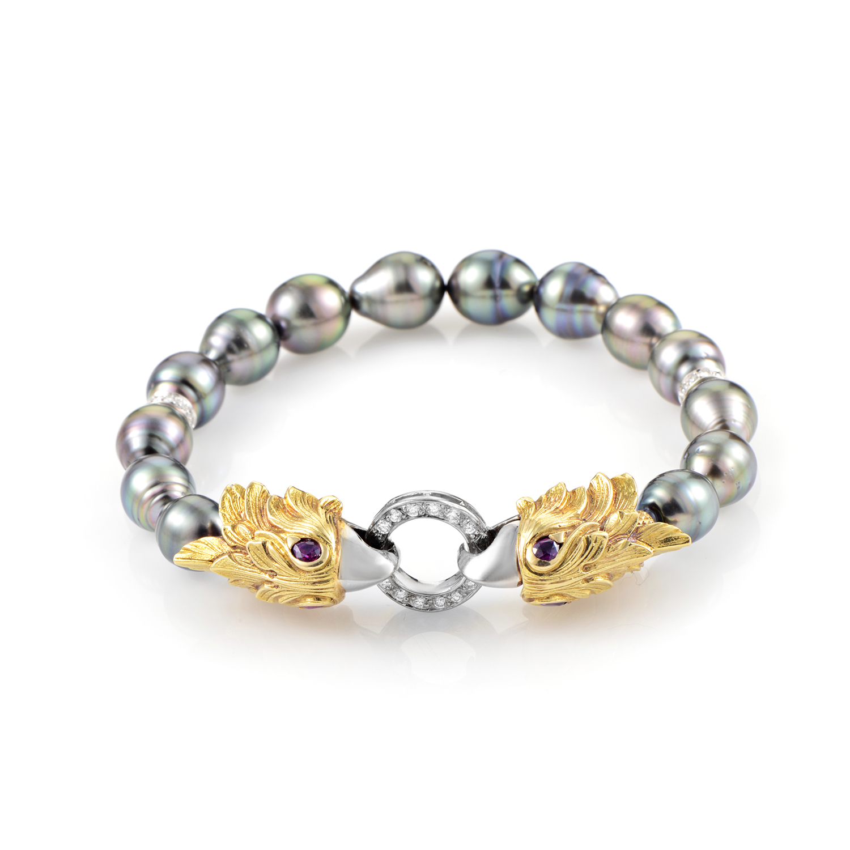 Carrera y Carrera 18K Multi-Tone Gold Diamond & Pearl Eagle Head Bracelet