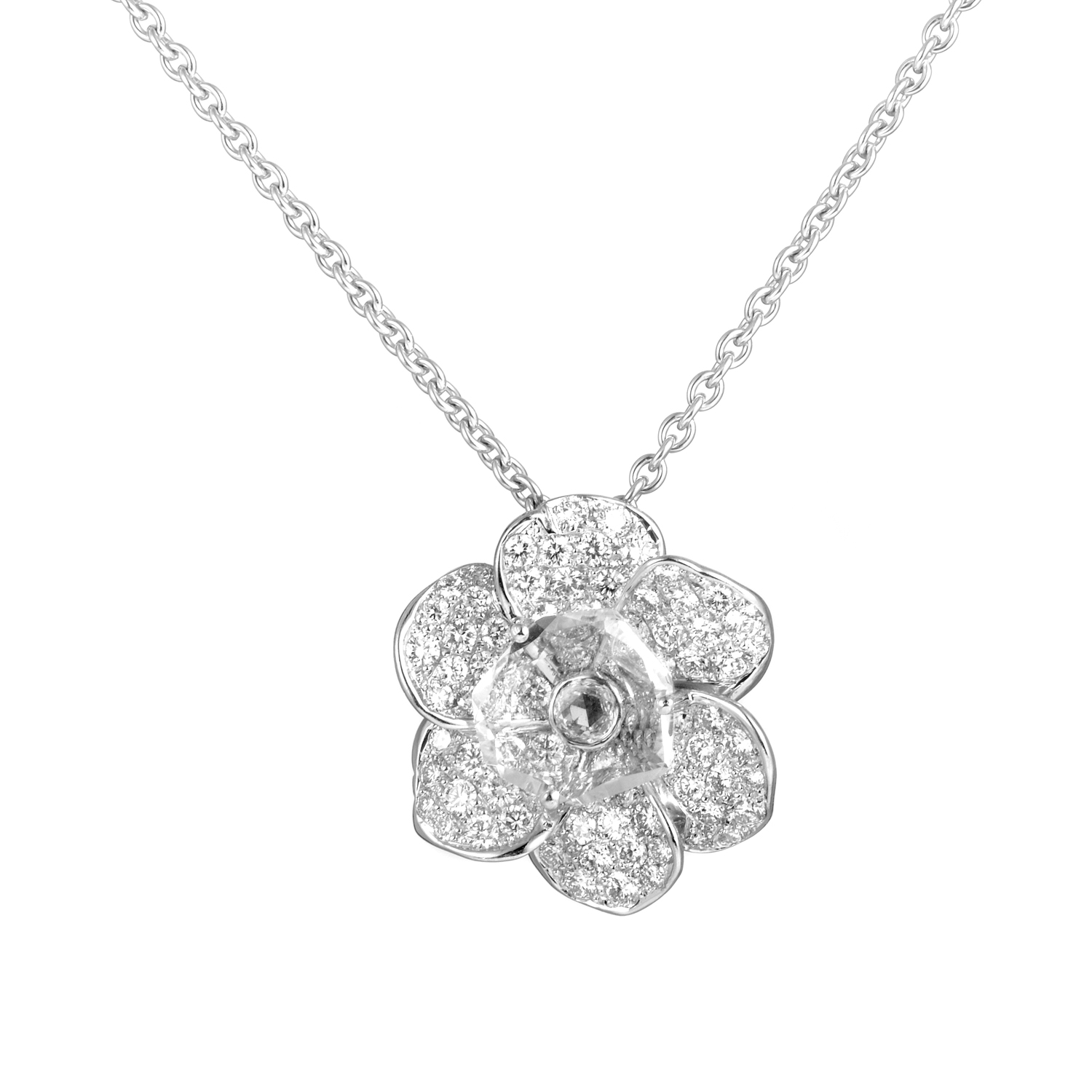 Gardenia 18K White Gold Diamond & Crystal  Pendant Necklace