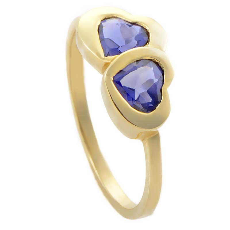 Womens 18K Yellow Gold Two Iolite Hearts Ring