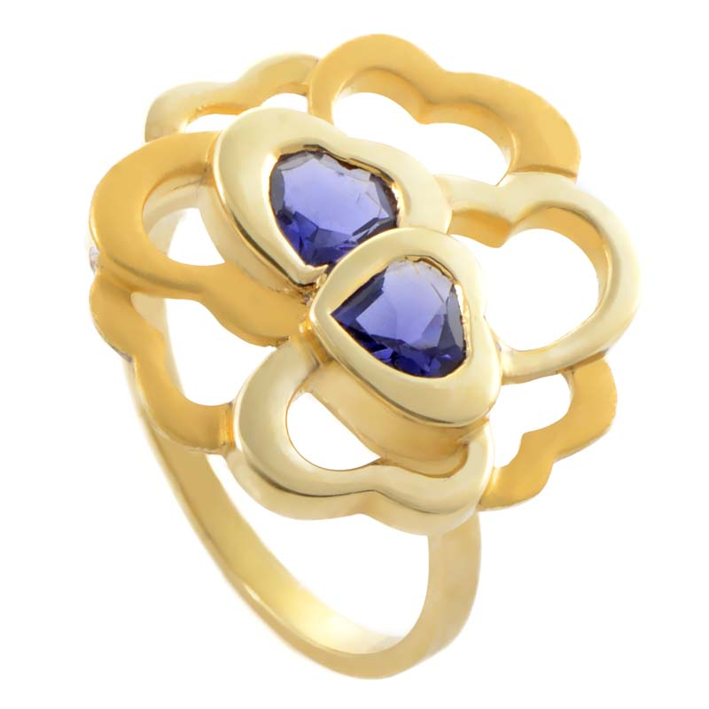 Womens 18K Yellow Gold Iolite Hearts Cluster Ring