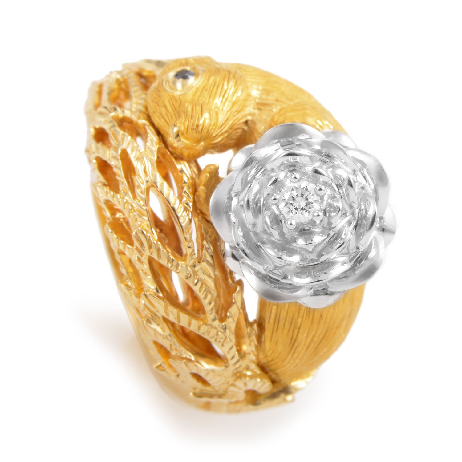 Piña 18K Multi-Tone Gold Diamond Squirrel Ring