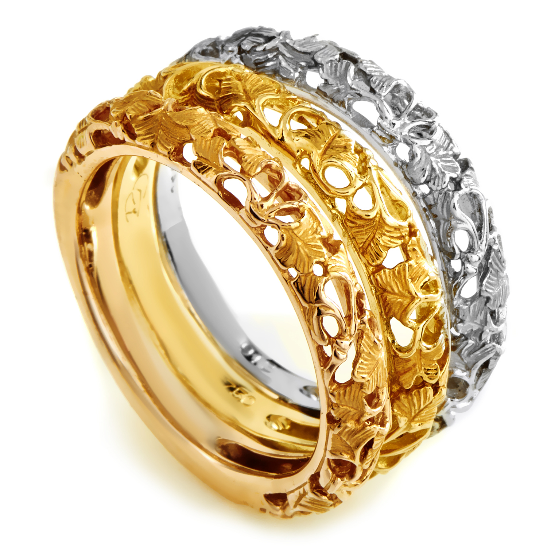 Carrera y Carrera Ginkgo Women's 18K Tri-Gold Band Ring