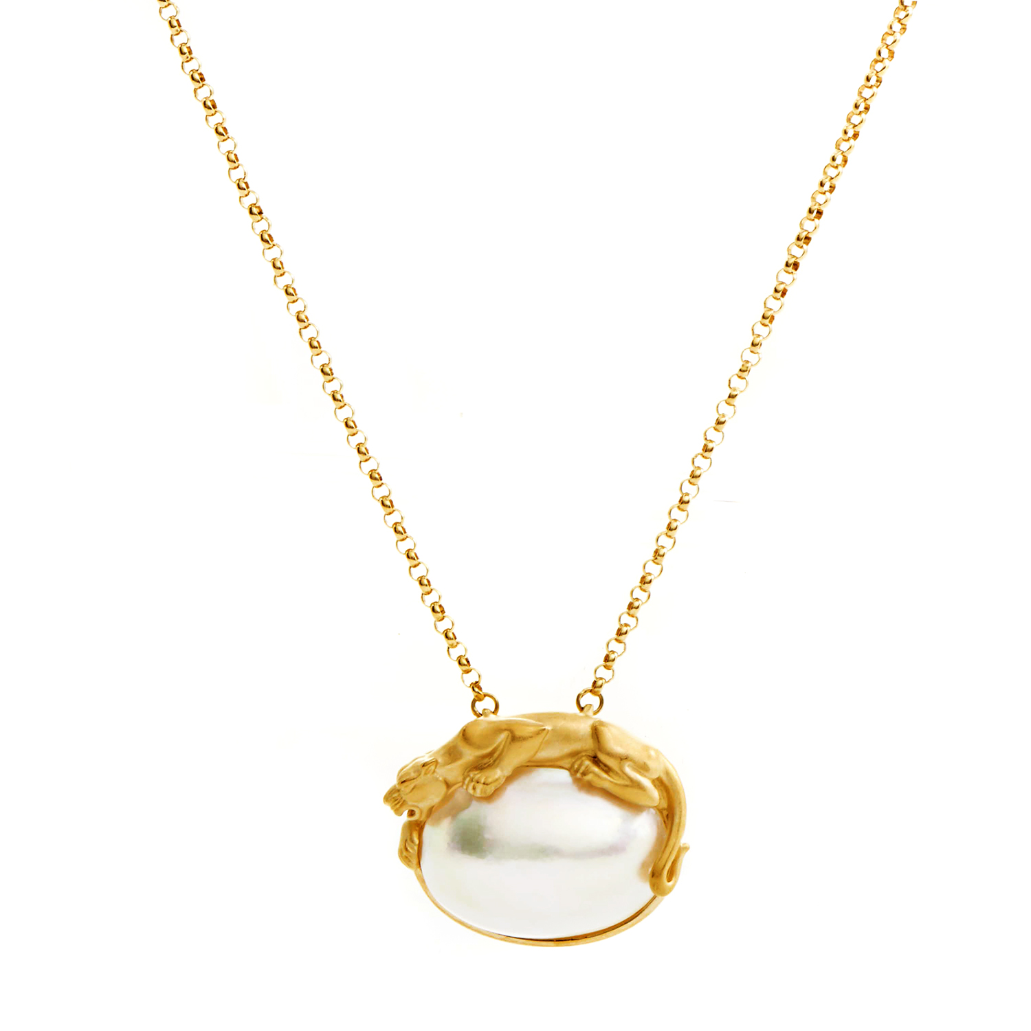 Carrera y Carrera Women's 18K Yellow Gold Mabe Pearl Panther Pendant Necklace